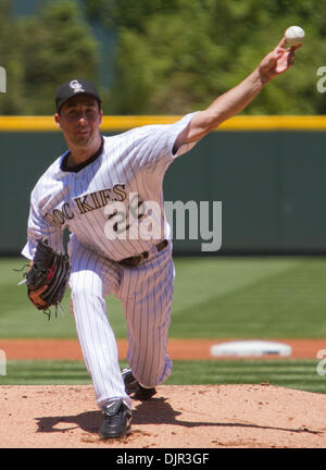 May 16, 2010 - Denver, Colorado, U.S. - MLB Baseball - Colorado Rockies pitcher JEFF FRANCIS throws during a 2-1 - Stock Photo