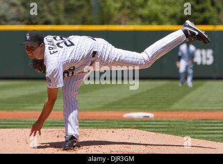 May 16, 2010 - Denver, Colorado, U.S. - MLB Baseball - Colorado Rockies pitcher JEFF FRANCIS throws during a 2-1 - Stock Photo