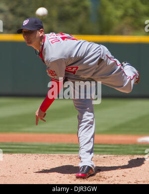 May 16, 2010 - Denver, Colorado, U.S. - MLB Baseball - Washington Nationals pitcher SCOTT OLSEN throws during a - Stock Photo