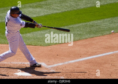 May 16, 2010 - Denver, Colorado, U.S. - MLB Baseball - Colorado Rockies shortstop TROY TULOWITZKI hits during a - Stock Photo