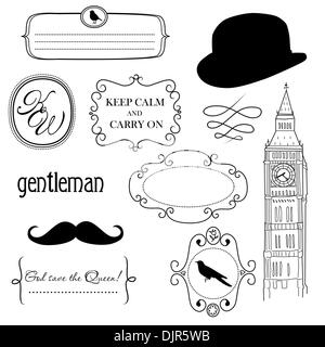 Doodle frames in British style - Stock Photo