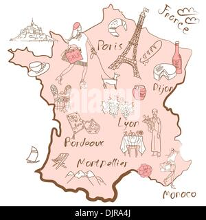 Stylized map of France. Things that different Regions in France are famous for. - Stock Photo