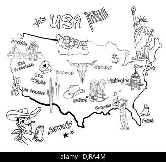Stylized map of America. Things that different Regions in USA are famous for. - Stock Photo
