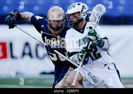 Mar. 06, 2010 - Baltimore, Maryland, U.S - 06 March 2010: Notre Dame LSM Andrew Irving #50 and Loyola Attack Eric - Stock Photo
