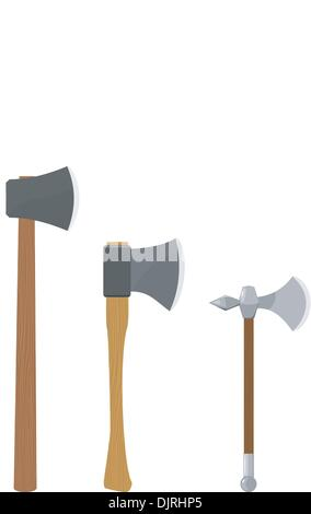 Set of vector illustrations of axes - Stock Photo