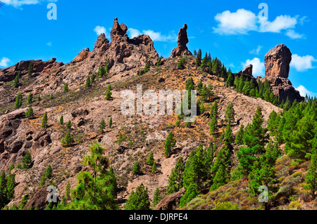 a view of Roque Nublo in Gran Canaria, Spain - Stock Photo