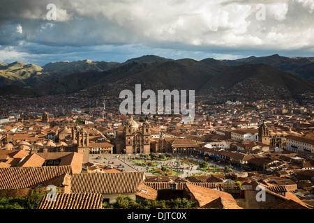 Elevated view over Cuzco and Plaza de Armas, Cuzco, Peru. - Stock Photo