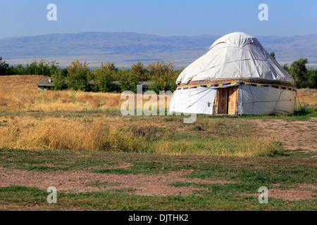 Nomads tent (yurt), near Burana tower, Chuy oblast, Kyrgyzstan - Stock Photo