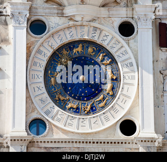Close up of the Torre dell'Orologio astronomical clock, St Marks Square ( Piazza San Marco), Venice, Veneto, Italy - Stock Photo