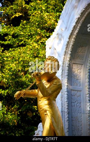 Statue of Johann Strauss, Stadtpark, Vienna, Austria, Central Europe - Stock Photo