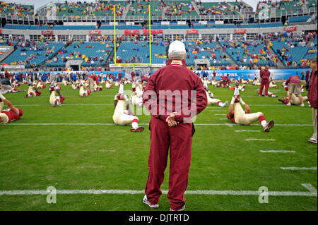 NCAA Gator Bowl - Bobby Bowden watches his team during pre-game warm-ups at Alltell Stadium before the start of - Stock Photo