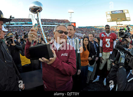 NCAA Gator Bowl - Bobby Bowden hoists the 2010 Gator Bowl trophy  (Credit Image: © Mike Olivella/ZUMApress.com) - Stock Photo