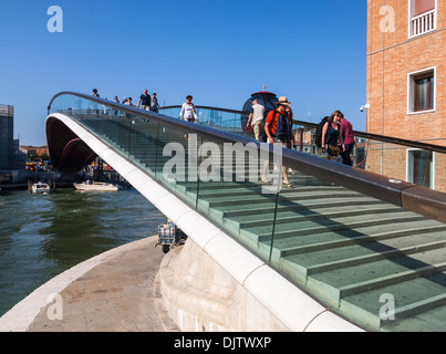 The Ponte della Costituzione (Ponte di Calatrava) new bridge over the Grand Canal, Venice, Italy - Stock Photo