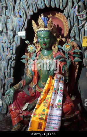 Statue of Green Tara, Main temple, Palcho Monastery, Tibet, China - Stock Photo