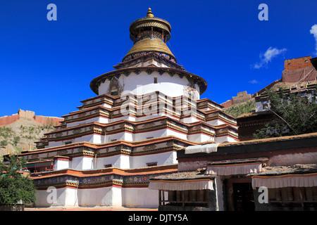 Kumbum Stupa (1439), Palcho Monastery (Pelkor Chode, Shekar Gyantse), Gyantse County, Shigatse Prefecture, Tibet, - Stock Photo