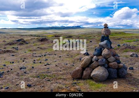 Rock Piles, Pingvellir National Park Iceland - Stock Photo