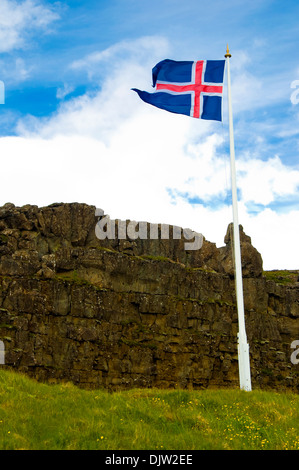 The Law Rock, Pingvellir National Park, Iceland - Stock Photo