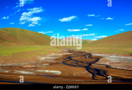 Landscape viewed from train of Trans-Tibetan Railway, Tibet, China - Stock Photo
