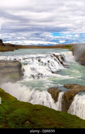 Gullfoss waterfall, Gullfoss, Iceland - Stock Photo