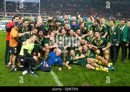 Manchester, UK. 30th Nov, 2013. Australis celebrate winning the Rugby League World Cup Final between Australia and - Stock Photo