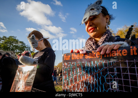 Anti-Fur Animal Rights Coalition Protest in London - Stock Photo