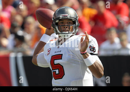 Oct. 24, 2010 - Tampa, Florida, United States of America -  Tampa Bay Buccaneers quarterback Josh Freeman (5) attemps - Stock Photo