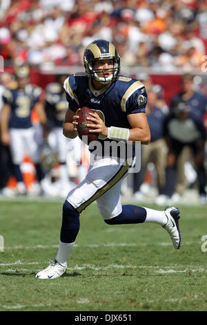 Oct. 24, 2010 - Tampa, Florida, United States of America - St. Louis Rams quarterback Sam Bradford (8) attempts - Stock Photo