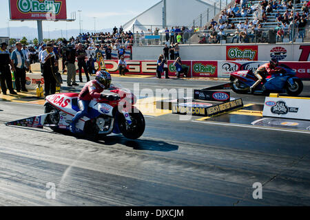 Oct. 31, 2010 - Las Vegas, Nevada, United States of America - Hector Arana, riding the Lucas Oil Buell Pro Stock - Stock Photo
