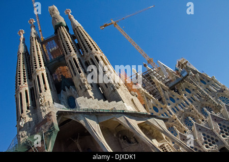 The Passion Facade of La Sagrada Familia cathedral, Barcelona - Stock Photo