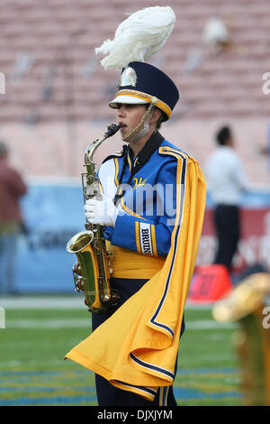 Nov. 6, 2010 - Pasadena, California, United States of America - A member of the UCLA marching band plays the National - Stock Photo