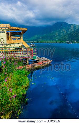 Houseboats, Dal Lake, Srinagar, Kashmir, Jammu and Kashmir State; India. - Stock Photo