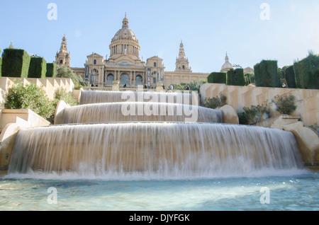 Water fountains at Museu Nacional d'Art de Catalunya, Barcelona - Stock Photo