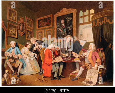 The Marriage settlement Hogarth Marriage a la mode chromolitho - Stock Photo