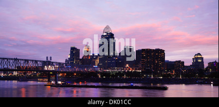 The Cincinnati Ohio Skyline Just After Sunset On Fireworks Night, Panoramic View, USA - Stock Photo