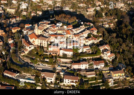 PERCHED MEDIEVAL VILLAGE (aerial view). Village of Aspremont, Alpes-Maritimes, French Riviera's backcountry, France. - Stock Photo