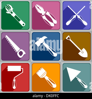 Icons of working tools - Stock Photo