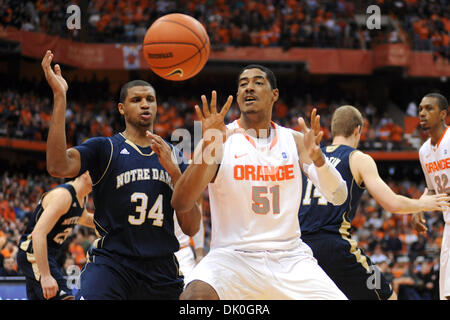 Jan. 1, 2011 - Syracuse, New York, United States of America - Syracuse Orange center Fab Melo (51) looks to catch - Stock Photo