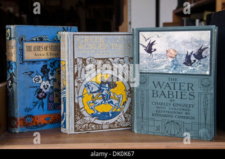 Vintage books for sale in the window of a secondhand bookshop, Edinburgh, Scotland. - Stock Photo