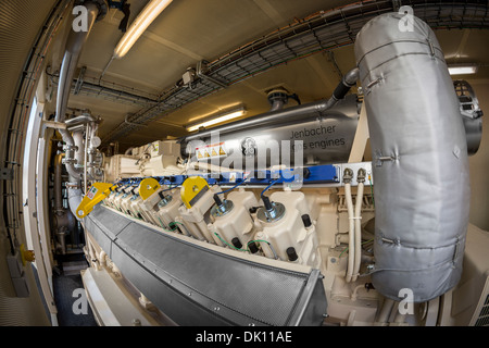 A containerized power station allowing the biogas recovering by fermentation of rubbish dump. Bio gas engine and - Stock Photo