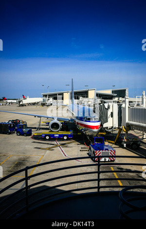 Boeing 737 of American Airlines being serviced at the gate ready for departure from Tampa Airport FL - Stock Photo