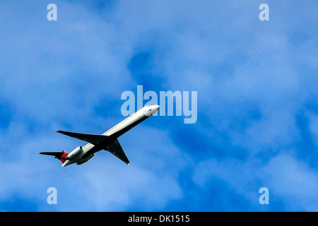 A Delta Airlines Bombadier CRJ700 afer take off from Tampa Airport FL - Stock Photo