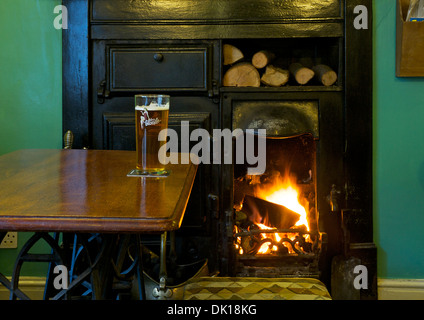 Pint of Dizzy Blonde beer in the Old Friends pub, Soutergate, Ulverston, Cumbria, England UK - Stock Photo