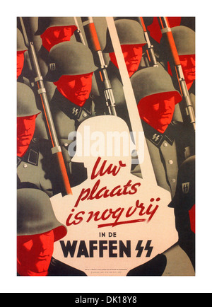 1940's German wartime propaganda recruitment poster for the Waffen SS '' step in to this space'' - Stock Photo