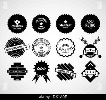 Black vintage vector design elements set satisfaction guaranteed, connected, retro, protected labels - Stock Photo