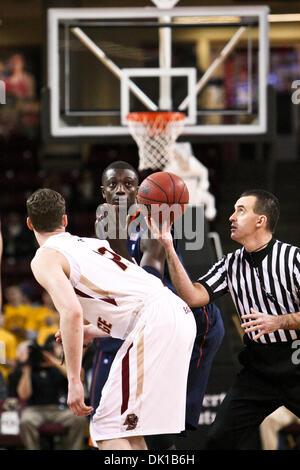 Jan. 19, 2011 - Chestnut Hill, Massachusetts, United States of America - Virginia Cavaliers center Assane Sene (5) - Stock Photo