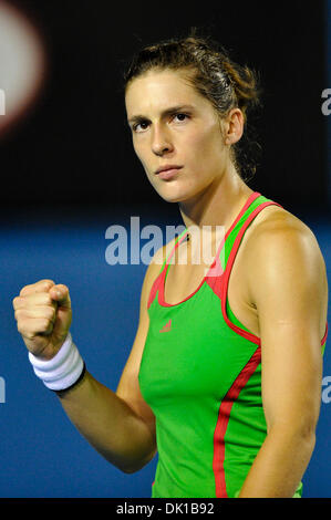 Jan. 19, 2011 - Melbourne, Victoria, Australia - Andrea Petkovic (GER) reacts during her second round match against - Stock Photo