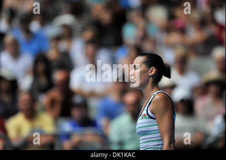 Jan. 24, 2011 - Melbourne, Victoria, Australia - Flavia Pennetta (ITA) in action during her fourth round match against - Stock Photo