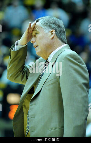 Jan. 27, 2011 - Berkeley, California, United States of America - Cal head coach Mike Montgomery expresses frustration with a call during the NCAA basketball game between the Oregon State Beavers and the California Golden Bears at Haas Pavilion.  Cal won in a rout, 85-57. (Credit Image: © Matt Cohen/Southcreek Global/ZUMAPRESS.com)