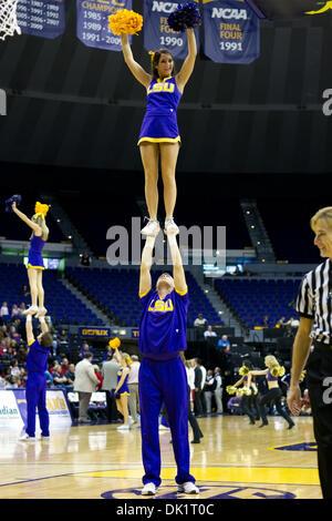 Jan. 27, 2011 - Baton Rouge, Louisiana, U.S - 27 January 2011- Arkansas at LSU; The LSU cheerleaders entertain the - Stock Photo