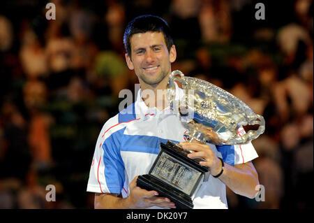 Jan. 30, 2011 - Melbourne, Victoria, Australia - Novak Djokovic (SRB) celebrates winning the men's singles final - Stock Photo